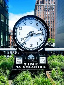 Clock with Organization spelled out